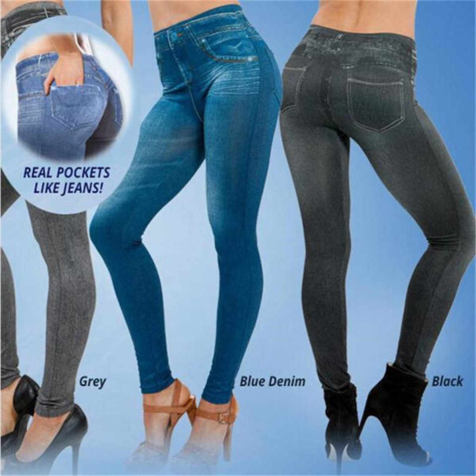 Vrouwen Mode Leggings Faux Denim Jeans Leggings Pocket Casual Slim Fit Leggings Winter Fluwelen Warme Legging Plus Size