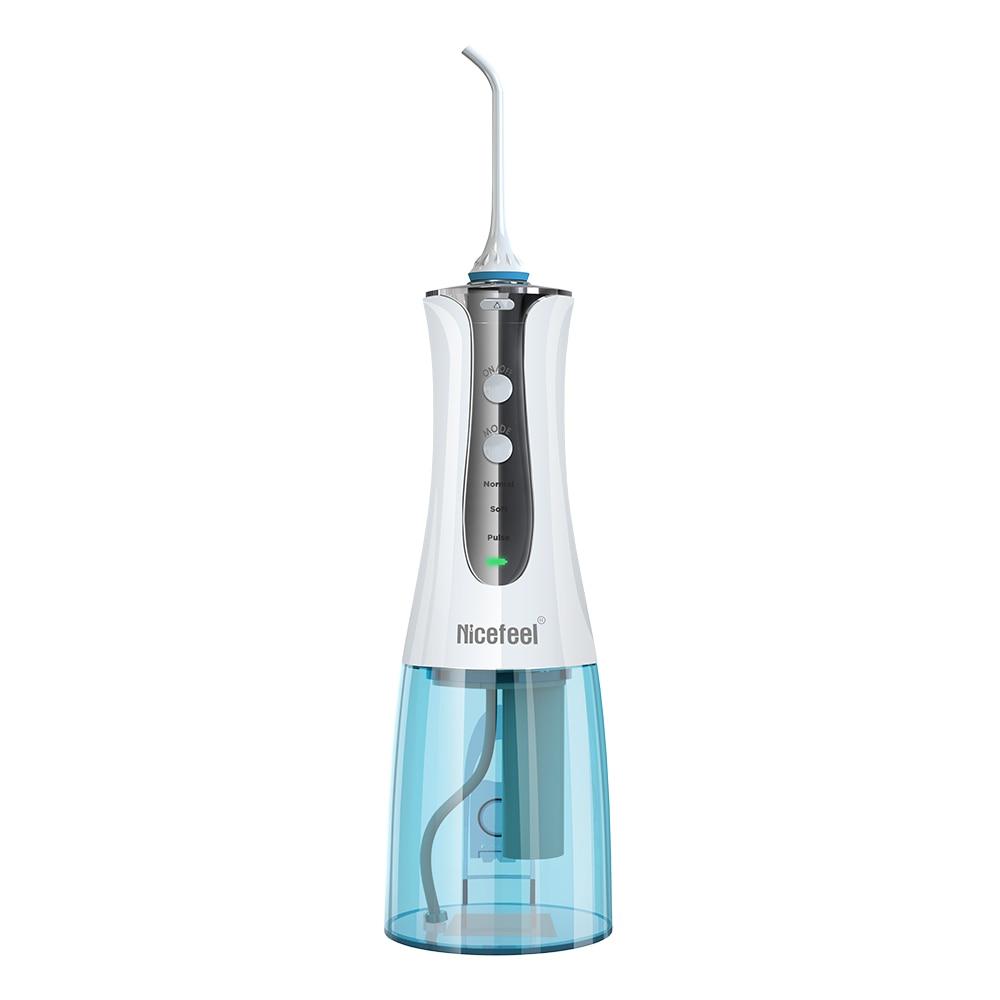 Nicefeel Oral Irrigator USB Rechargeable 3 Modes Cordless Water Dental Flosser Waterproof Teeth Cleaner With 2 Jet Tips 300ml