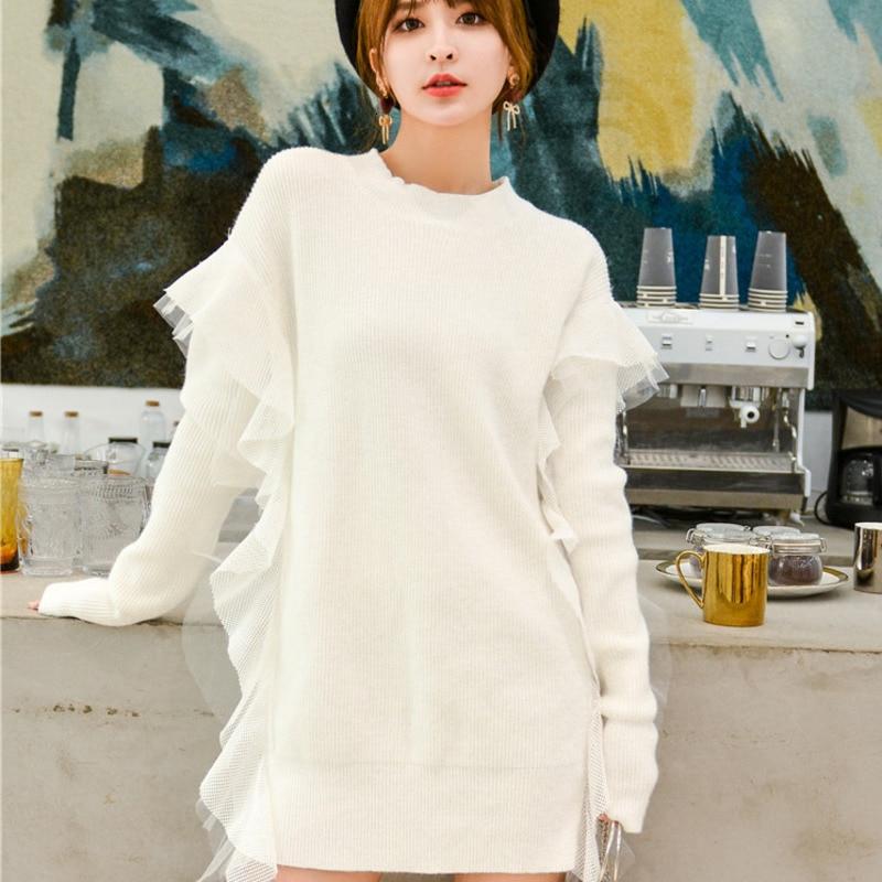 LANMREM 2020 nouveau printemps mode col rond couleur unie maille couture longue robe en tricot ample PA990