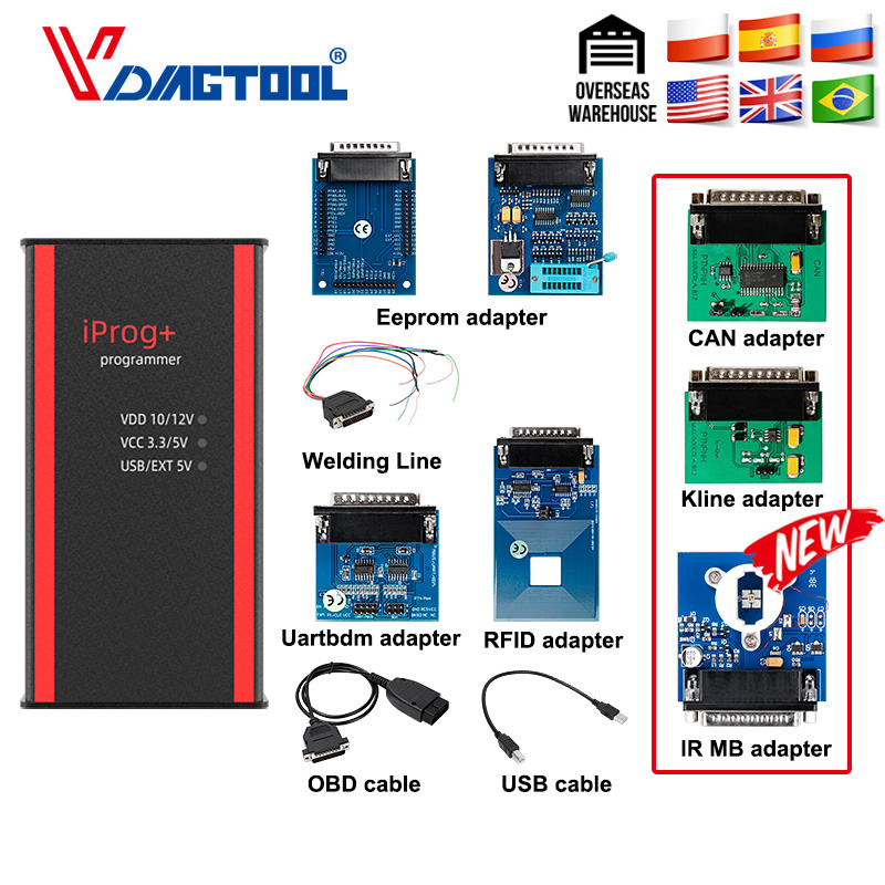 Newest Iprog+ Key Programmer Support IMMO + Mileage Correction + Airbag Reset Iprog Pro Till 2019 Replace Carprog/Digiprog/Tango