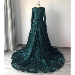 Дубай А-силуэта роскошное вечернее платье мусульманское 2020 Винтажное с длинным рукавом блестящее платье для выпускного вечера