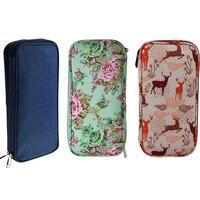 Tejer bolsa de almacenamiento de vacío ganchillo gancho tejer agujas Kit de organizador caso para las agujas tijeras gobernante de coser bolsa de accesorios
