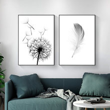 Nordic Dandelion Black White Feather Canvas Painting Posters and Prints Wall Art Pictures Cuadro Home Decoration No Frame