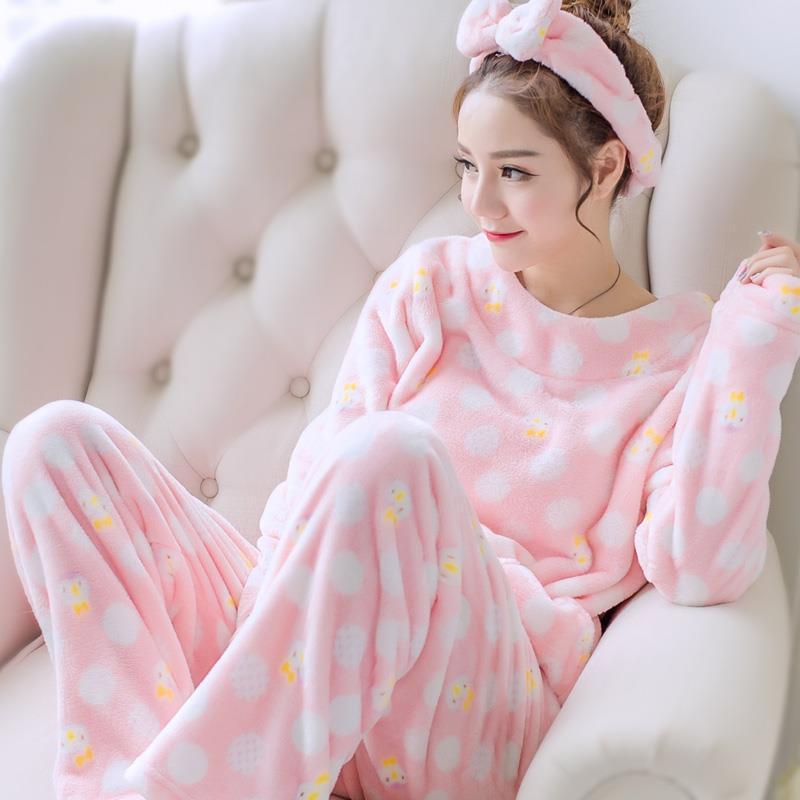 Cartoon Coral Pajamas Set Winter Flannel Sleepwear Girl 2pcs Pijamas Suit Nightgown Long Sleeve Women Cute Shirt &pant Sleep Set