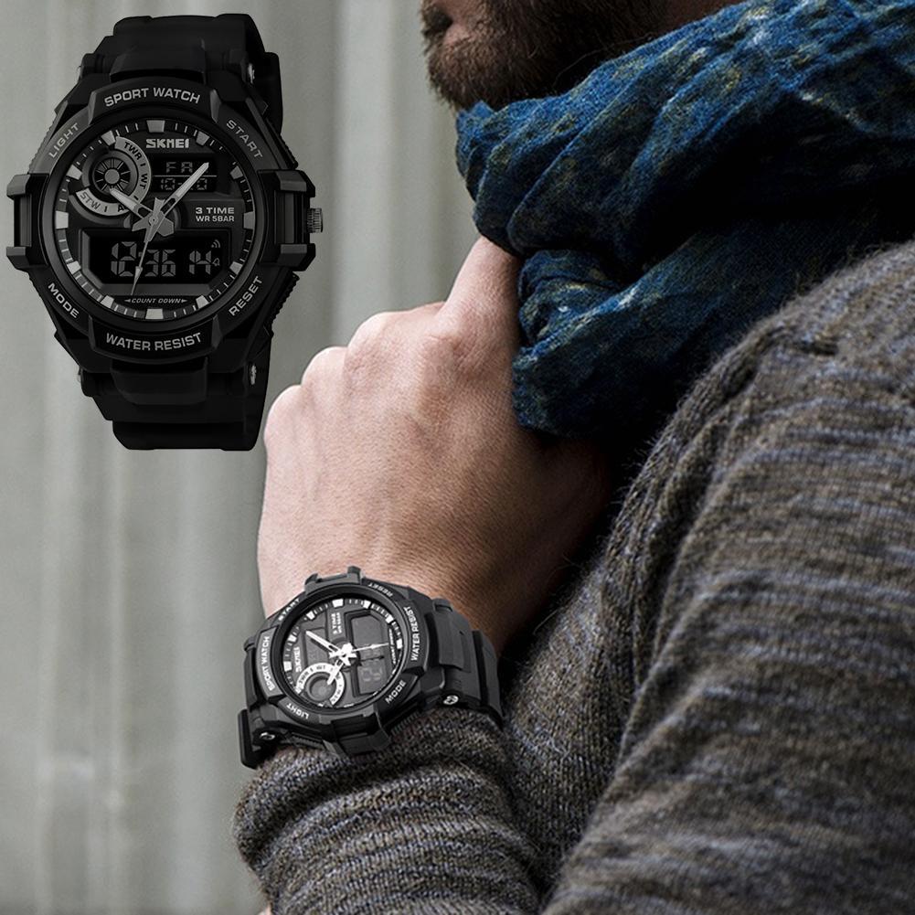 Fashion Men Luminous Waterproof Alarm Calendar Stopwatch Student Wrist Watch Mas-culino Fashion Men's Watch Large Dial Militarys