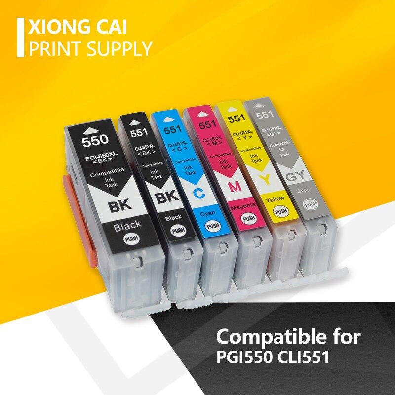 6 шт. чернильные картриджи для Canon PGI550 CLI551 PGI 550 PIXMA IP7250 MG5450 MX925 MG5550 MG6450 MG5650 MG6650 IX6850 MX725 принтеры