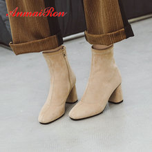 ANMAIRON Ankle Boots for Women Round Toe Basic Zip Faux Suede Shoes Square Heel Short Plush Winter Size 34-43
