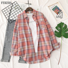 Summer Plaid Shirts Womens Blouses And T