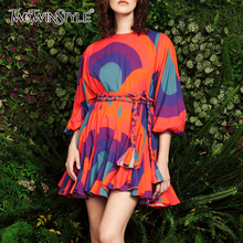 TWOTWINSTYLE Casual Print Hit Color Dresses Women O Neck Lantern Three Quarter Sleeve High Waist Lace Up Ruffle Dress Female New
