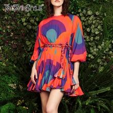 TWOTWINSTYLE na co dziń z nadrukiem Hit kolorowy sukienki kobiety O Neck latarnia rękaw 3/4 wysoki gorset sukienka z lamówką kobieta nowy