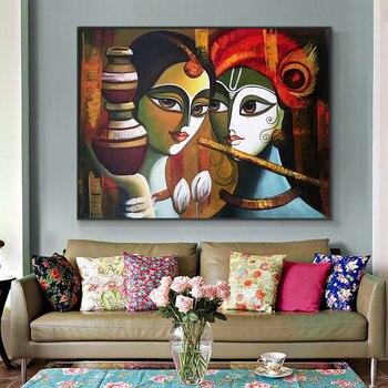 Buddha Radha Krishna True Love Oil Painting Printed On Canvas 1