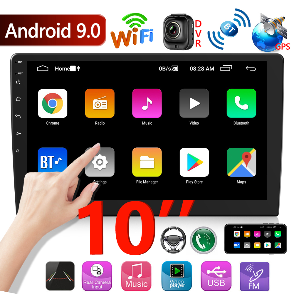 10 Inch Double 2 DIN Car Stereo Android 9.0 Head Unit GPS Navigation Bluetooth WiFi Radio Car Intelligent System Multimedia