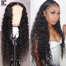Wig Lace Closure Deep-Wave Lace-Wig Human-Hair Pre-Plucked Brazilian 4x4 Remy-13x1 Knots