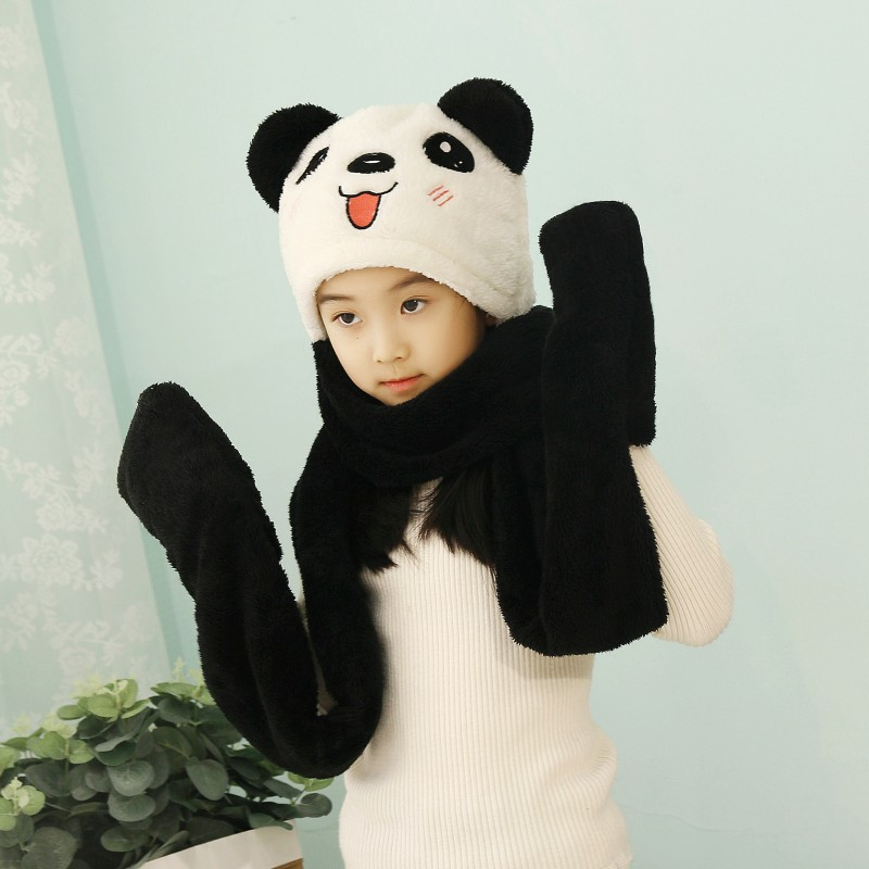 New Fashion Autumn Winter Hat And Gloves Set For Boys Girls Hats Caps Coral Velvet Riding Windproof Warm Thickened Scarf Neck