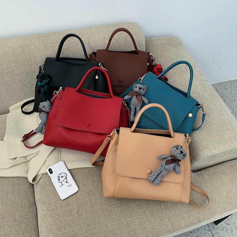 Cute Bear Big-capacity Women Handbags Casual Solid Shoulder Messenger Bags Luxury PU Leather Women Handbag Designer Ladies Tote