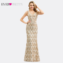 Luxury Evening Dresses Long Ever Pretty 0821 V-Neck Tassel Sequined Sexy Rose Gold Mermaid Party Gown Robe De Soiree Sirene 2019