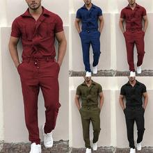Coverall-Pants Jumpsuit Rompers Loose Short-Sleeve Pockets Drawstring Fashion Stylish