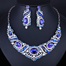 2 PCS / SET Fashion Fully Sparkling Rhinestone Necklace Earrings Wedding Party Jewelry Set for Brides Women's Crystal Jewellery(China)