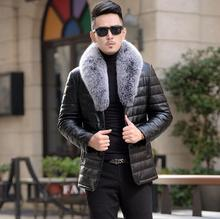 2020 Winter new down for men short fox fur collar leather slim Korean jaqueta male Casual jacket tide cheap 1707 Single Breasted Full Thick (Winter) Batik Acetate White goose down Collar Detachable Polyester 200g-250g Solid REGULAR