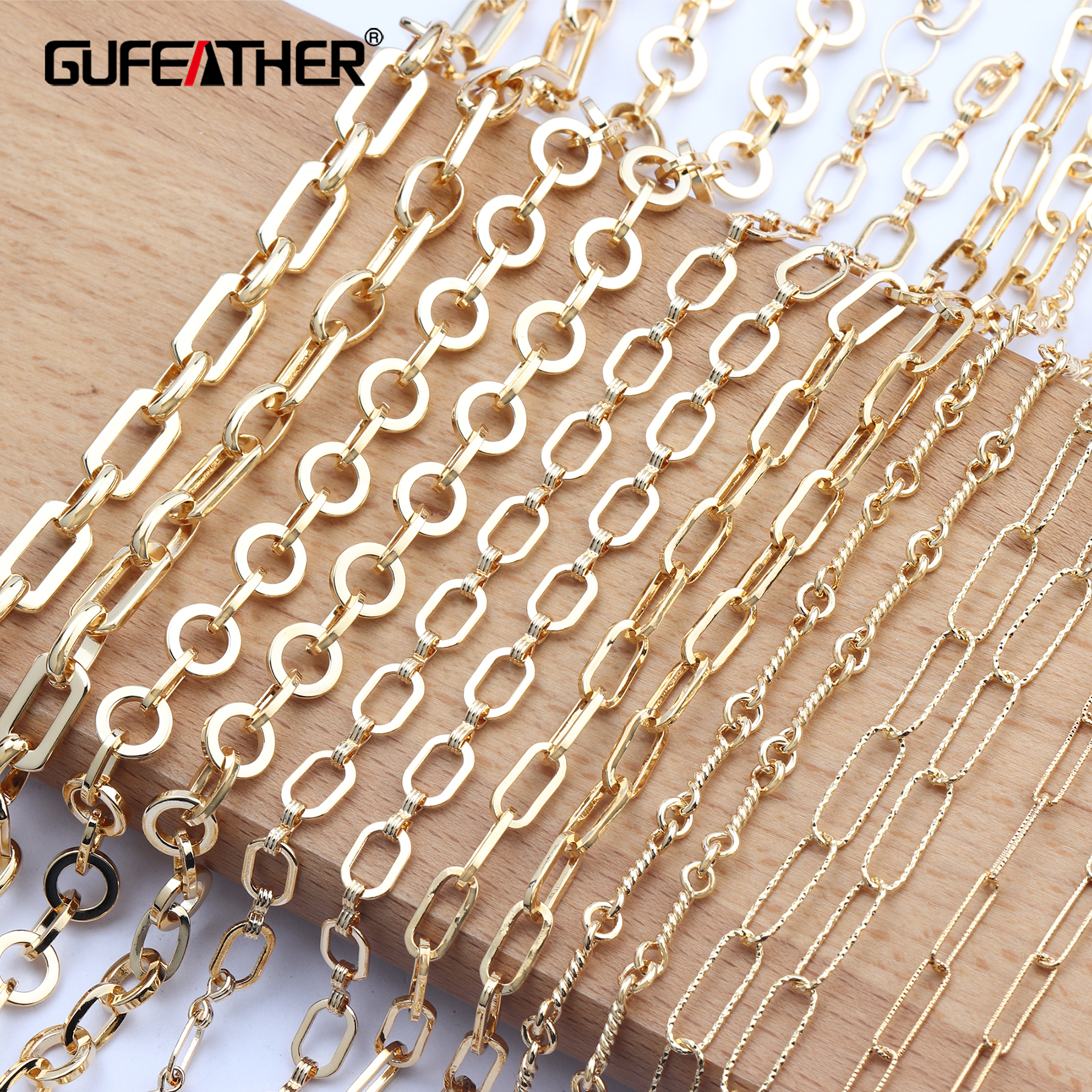 GUFEATHER C73,diy Chain,18k Gold Plated,jewelry Accessories,hand Made,copper Metal,jewelry Making,diy Chain Necklace,1m/lot