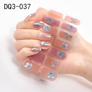 14pcs/sheet Glitter Gradient Color Nail Stickers Nail Wraps Full Cover Nail Polish Sticker DIY Self-Adhesive Nail Art Decoration 53