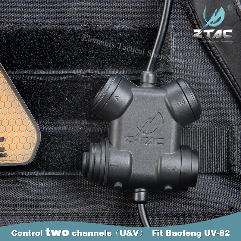 Z-TAC Tactical Dual PTT Adapter Softair Headphones Military Headset Accessories For Hunting Gaming Headset Walkie-Talkies UV 82