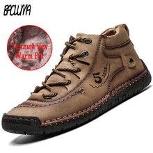 Классические зимние мужские Ботильоны удобные толстые плюшевые теплые мужские зимние ботинки кожаные осенние уличные мужские мотоциклетные ботинки