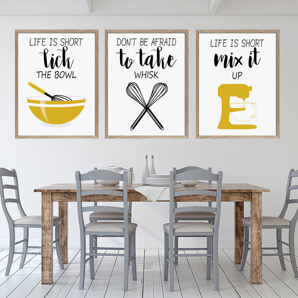 Yellow Funny Kitchen Quotes Prints Egg Beater Nordic Posters And Prints  Wall Art Canvas Painting Wall Pictures for Kitchen Decor