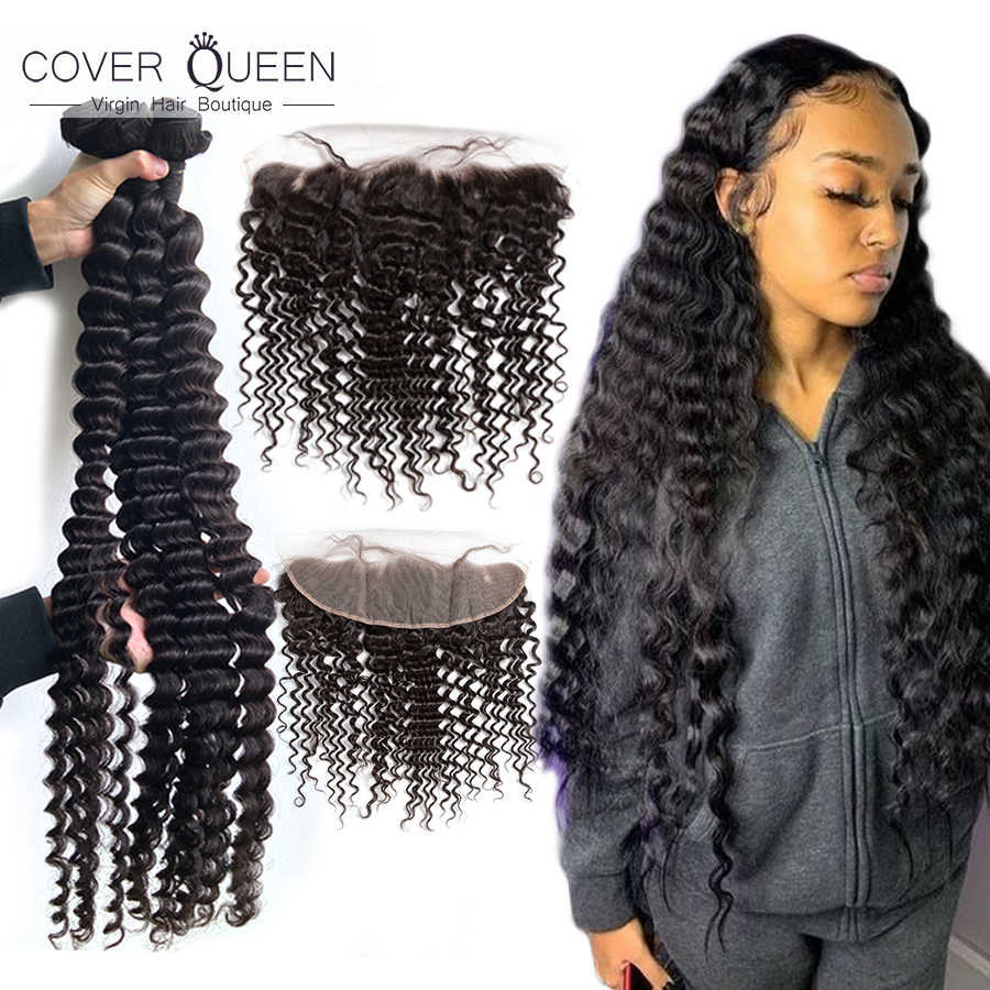 28 30 32 34 36 38 40 inch Curly Brazilian Hair Weave Bundles With Frontal 13x4 Ear To Ear Human Hair Bundles With Lace Closure
