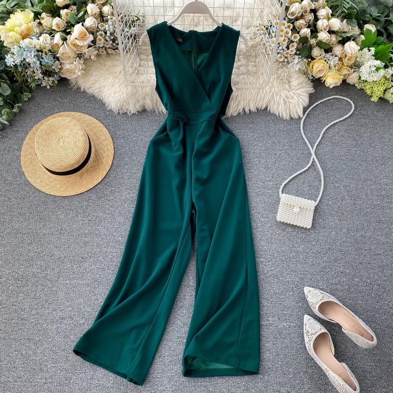 V-neck Jumpsuits Women High Waist Straight Pants Elegant Rompers New 2020 Summer Ladies Sleeveless Playsuit Overalls Kombineson