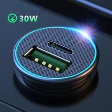 Ładowarka samochodowa Mini PD QC3.0 30W szybka ładowarka szybka ładowarka samochodowa podwójny Adapter USB telefon komórkowy dla iPhone Huawei Samsung Xiaomi