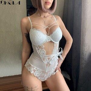 New Fashion Women Jumpsuit Lace Floral Hollow Out White Embroidery Bodysuit Black Sexy Deep V Straps Bodysuits mesh Transparent