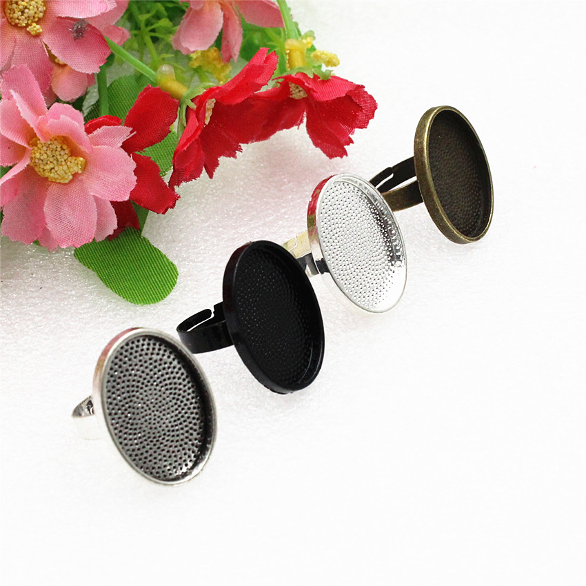 Fit 18x25mm  Oval  Cabochons  Metal Ring  Blank Setting Bezel Tray Base  DIY Ring Making Accessories 10pcs/lot K05124