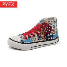 New Autumn Couple Style Hand-painted Graffiti High-help Low-help Two 35-44 Size Womens Flat Recreational Novelty Canvas Shoes