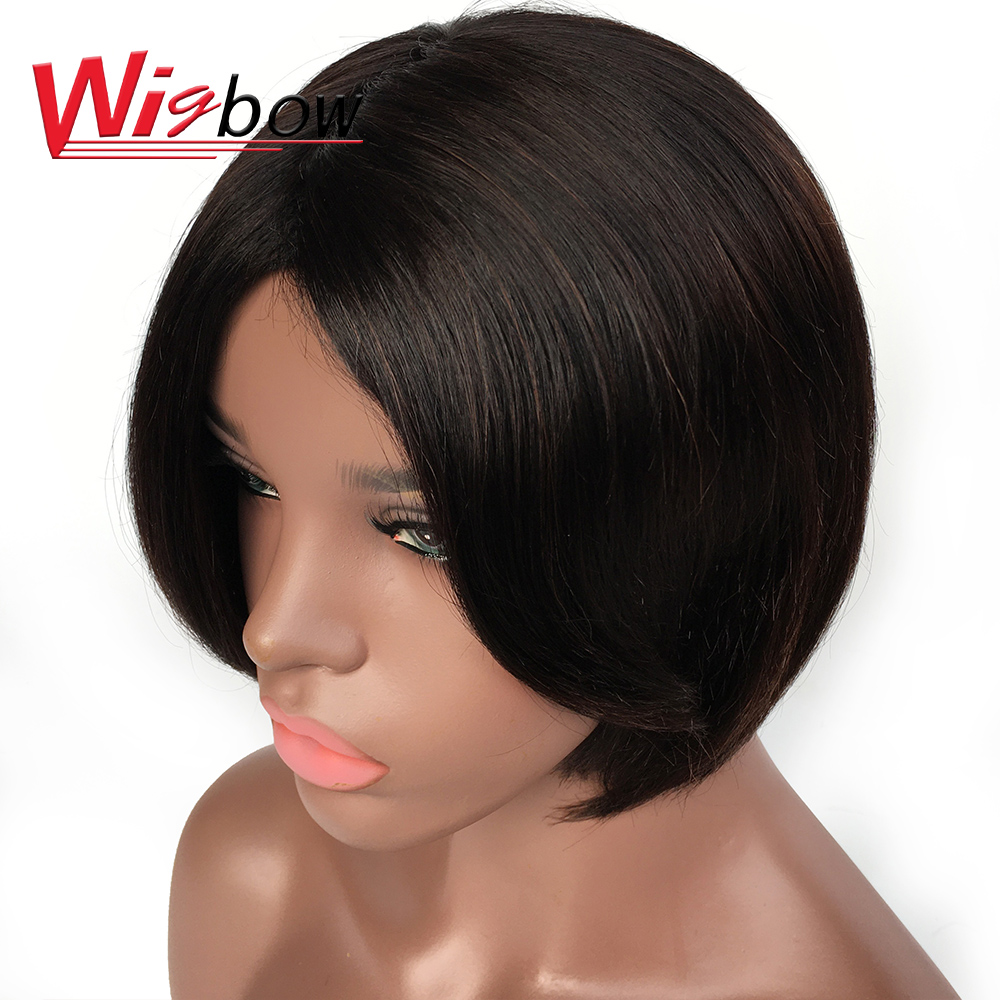 Human Hair Wigs Bob Red Wig Natural Black Wig With Bangs For Black Women Pixie Cut Indian Remy Hair 1B T1B/BG Color Machine Made