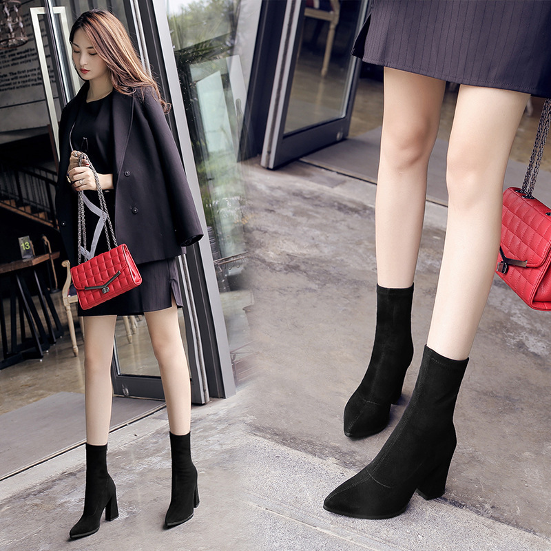 Women's shoes, women's short boots, women's autumn and winter new elastic boots, winter thick heel women's fashion boots