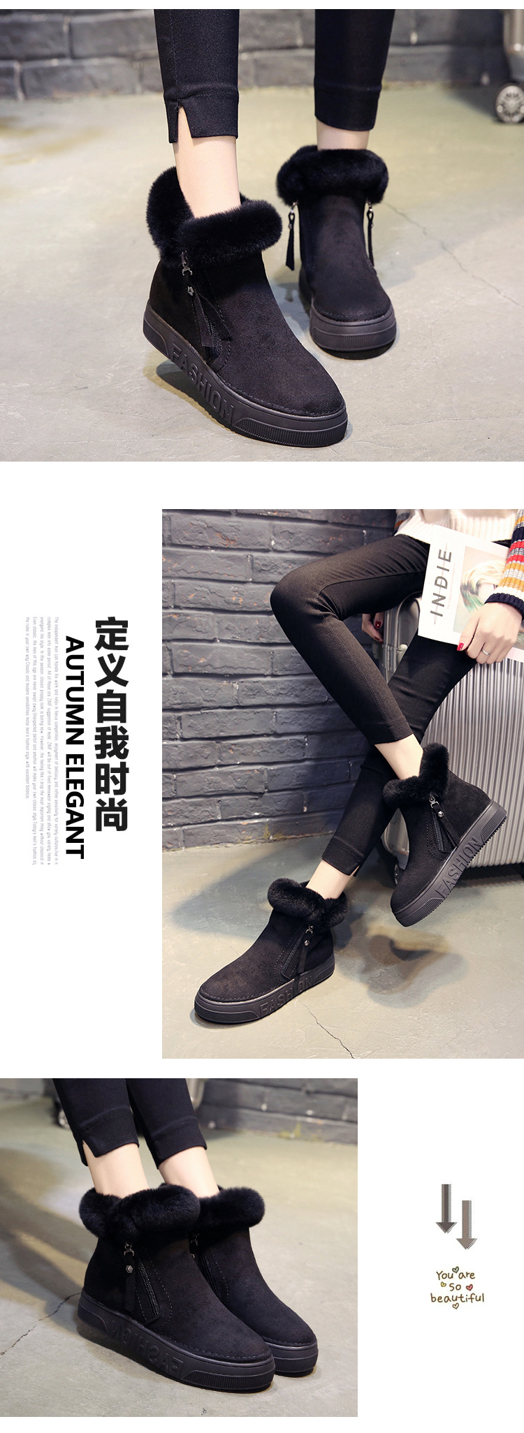 Women Short Ankle Boots Winter Plush Warm Thick Bottom Platform Round Toe Students Leisure Flat Ankle Snow Boots Botas Mujer 51