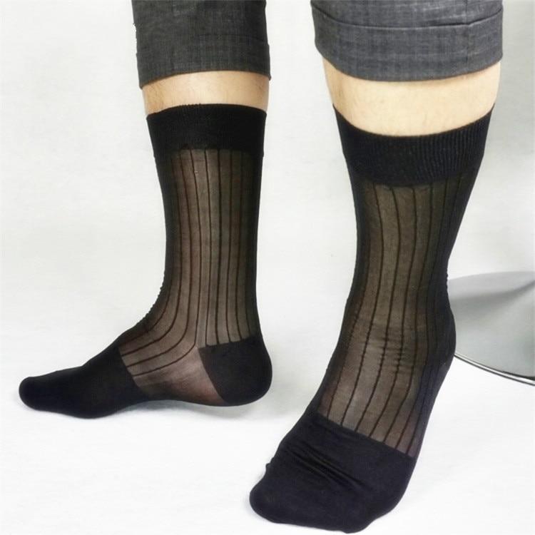 Fashion Men's Formal Dress Socks Men's Classic Vintage Black Stripe Soft And Smooth Nylon Stockings Sexy Male Black Stripe Socks