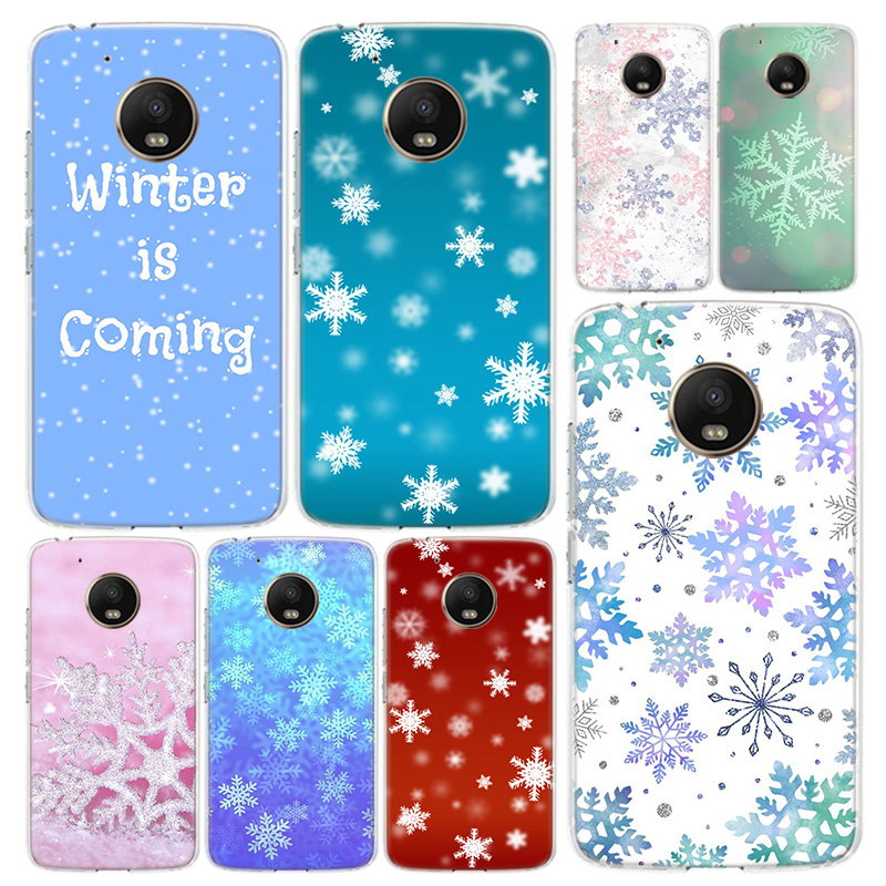 Christmas Snow Flake Phone Case Cover For Motorola Moto G8 G7 G6 G5S G5 G4 E6 E5 E4 X4 Play Plus Power + One Action Coque