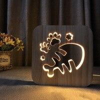 Wooden LED Night Light Animal Shaped 3D USB Charging Desk Lamp Decoration for Bedroom S7 #5
