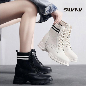 Image 1 - SWYIVY Martin Boots Women Knitting Sock Shoes Sneakers Platform New 2019 Female Casausl Shoes White/black Ankle Boots For Women