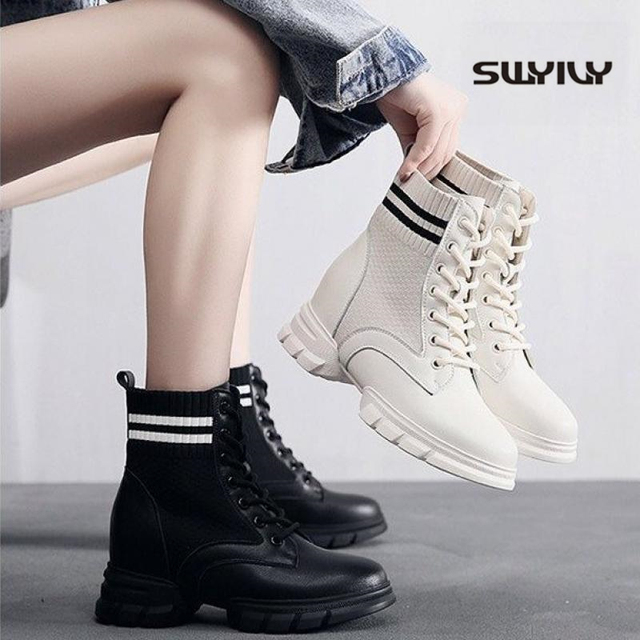 SWYIVY Martin Boots Women Knitting Sock Shoes Sneakers Platform New 2019 Female Casausl Shoes White/black Ankle Boots For Women