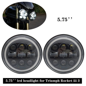 5.75 inch Sealed-Beam LED Projector Headlight White/Amber full halo ring for Triumph Rocket iii 3 Speed Tripl & Street Triple