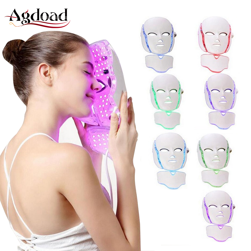 AGDOAD LED Facial Mask Beauty Skin Care Device 7 Colors Photon Therapy Face Mask Machine Light Therapy Beauty Led Mask