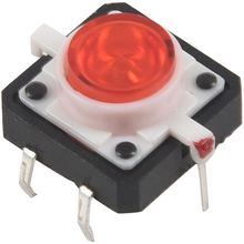 цена на 5 X Tactile Push Button Switch Momentary Tact LED 12X12 Round Cap red