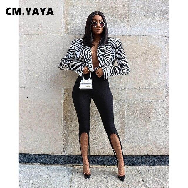 CM.YAYA Women Knit Solid High Slit Legging Pants Streetwear Party High Waist Trousers 4