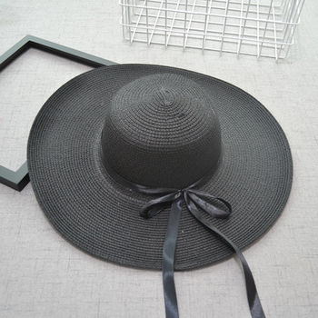 Wholesale Hot Selling Fashion Summer Travel Popular Solid Color Female Beach Sun Hat Foldable Beach Holiday Straw Hat Big Hat