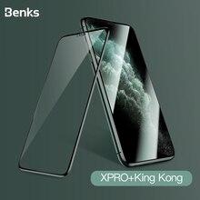 Película de vidro curvada benks xpro 3d, proteção de tela de 0.3mm para iphone 11 pro max xr x xs película de vidro temperado protetor