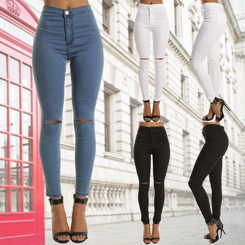 Women Fashion Solid Color Hole Jeans 2020 New Ladies Sexy Casual High Waist Trousers Women Elastic Slim Fit Denim Pencil Pants