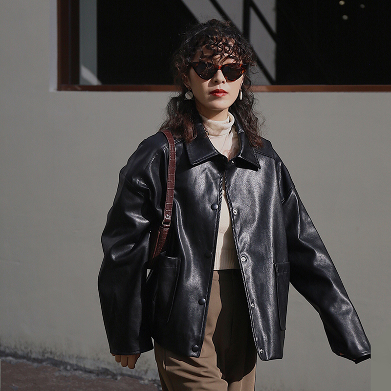 [EAM] Loose Fit Blue Pu Leather Brief Big Size Jacket New Lapel Long Sleeve Women Coat Fashion Tide Spring Autumn 2020 1X467 5